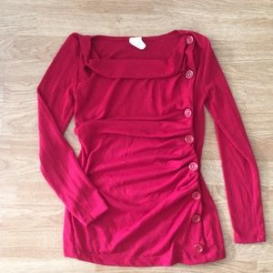 61fa02981c1fa1 J-Mode Tops - Red side button long sleeve mod sweater. So cute!